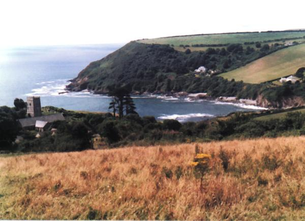 Talland Bay and church from Tencreek path photo:RJT 8/99